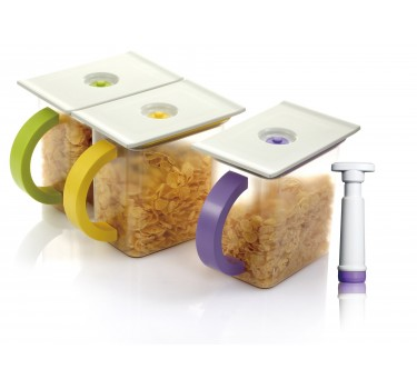 Set 3 contenedores de alimentos IBI 1,5 l con bomba de vaciado. Vacuum Saver
